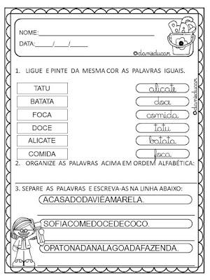 Atividades de alfabetização, Alfabetização e letramento, Atividades para 2º ano, silabas, LETRA  CURSIVA,