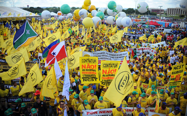 Protesters rally in Brasilia against President Michel Temer, austerity