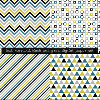 Free Mustard, Black, Teal and Gray Digital Paper Set