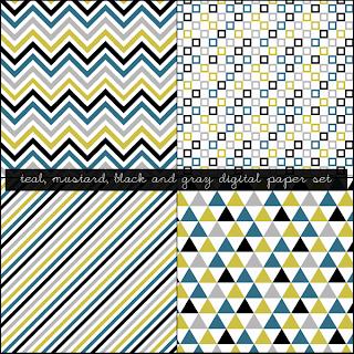Free Mustard, Black, Teal and Gray Digital Paper Set