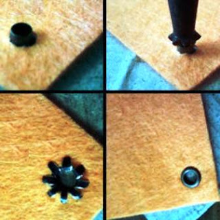 cara pemasangan eyelet dan hole punch