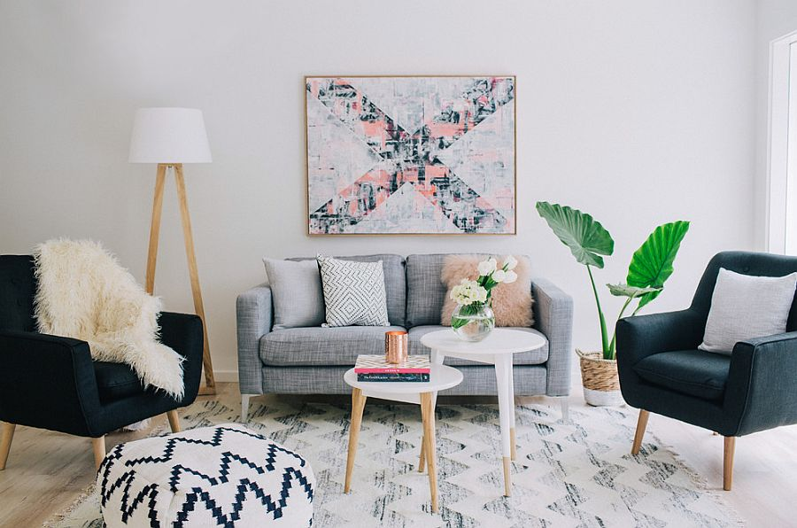 gray blue and pink living room decor