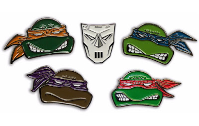 Teenage Mutant Ninja Turtles Enamel Pins by Mondo - Leonardo, Donatello, Raphael, Michelangelo & Casey Jones
