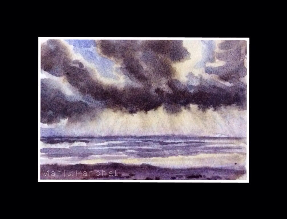 water colour painting of seashore created using wet on wet technique by manju Panchal