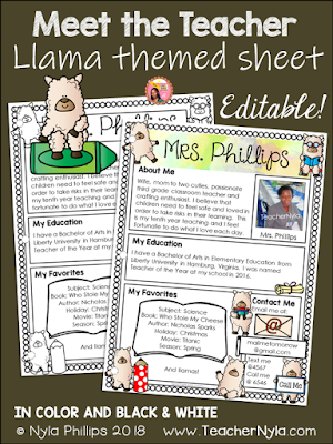 Meet the Teacher Editable Letter Template Llama Theme