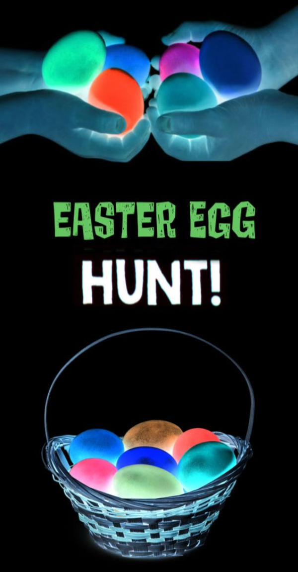 Here are two easy ways to set up a glow-in-the-dark Easter egg hunt for kids.  The entire family will love hunting for glow-in-the-dark Easter eggs! #glowinthedarkeasteregghunt #glowinthedarkegghunt #glowinthedarkeastereggs #glowingeasteregghunt #glowingeastereggs #glowingeggs #easteregghuntparty #easteregghunt #easteractivitieskids