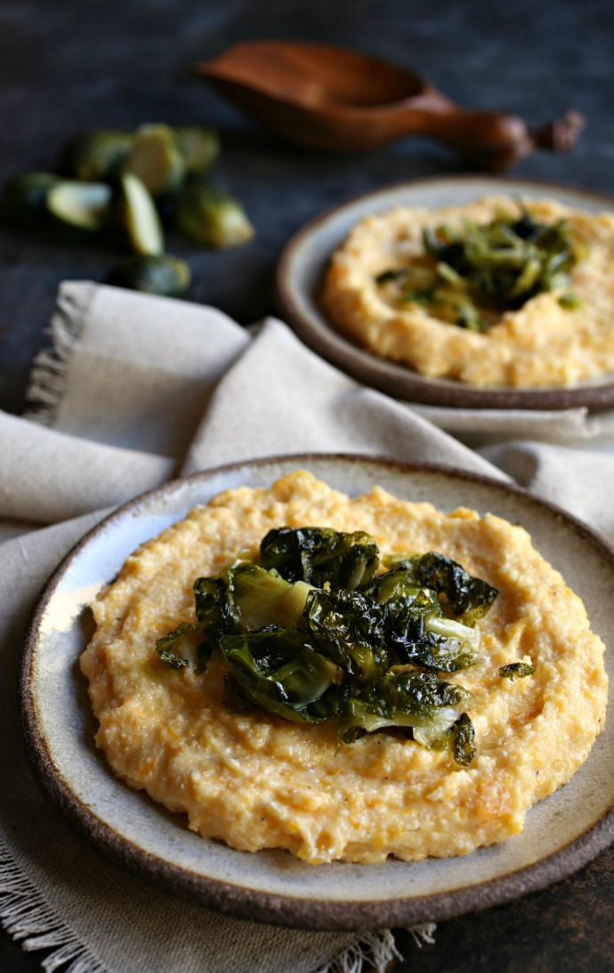 Butternut-and-Ricotta-Polenta-with-Crispy-Brussels-Sprouts