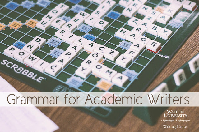"In background is a Scabble board with words spelled out in Polish. In the foreground, text reads, ""Grammar for Academic Writers, Walden University Writing Center."""""
