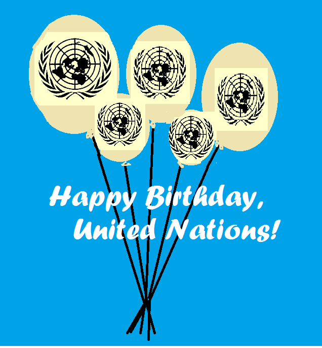 cartoon of balloons with UN logo, Happy Birthday, United Nations!