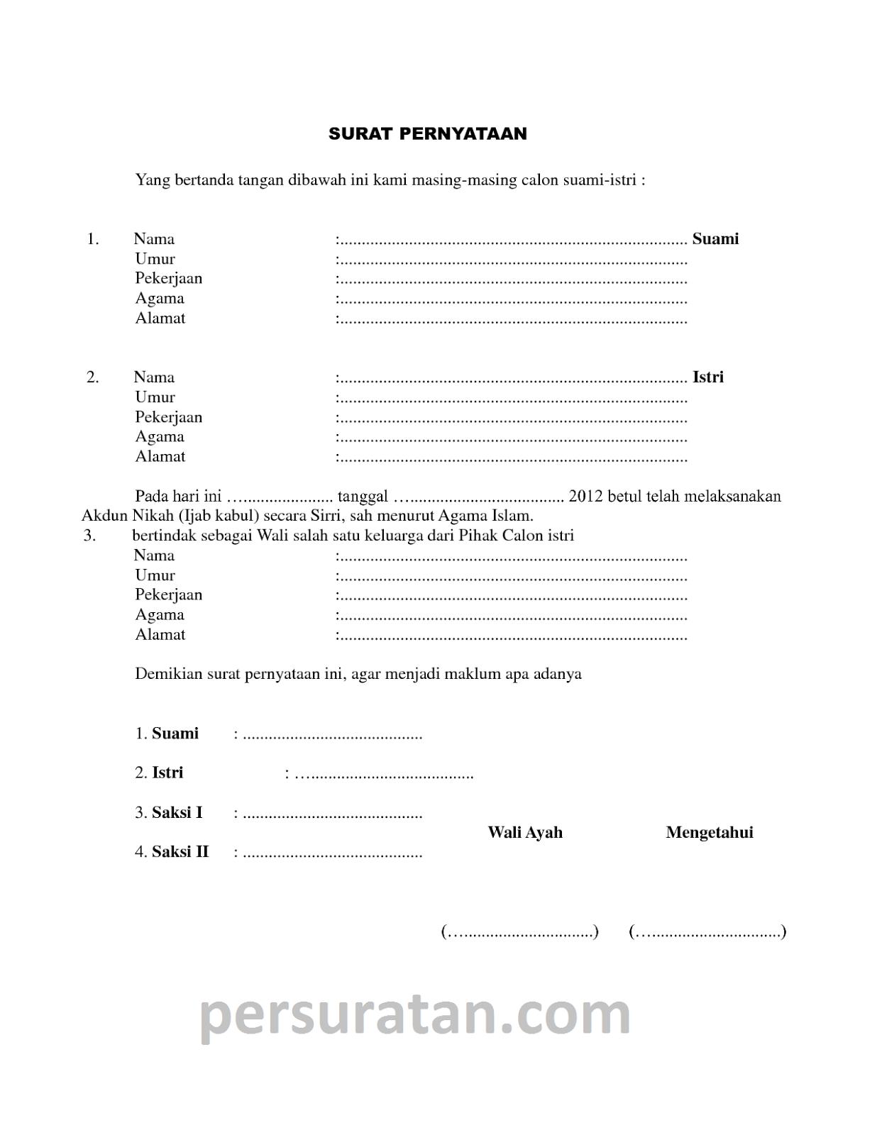 Contoh Format Surat Nikah Siri