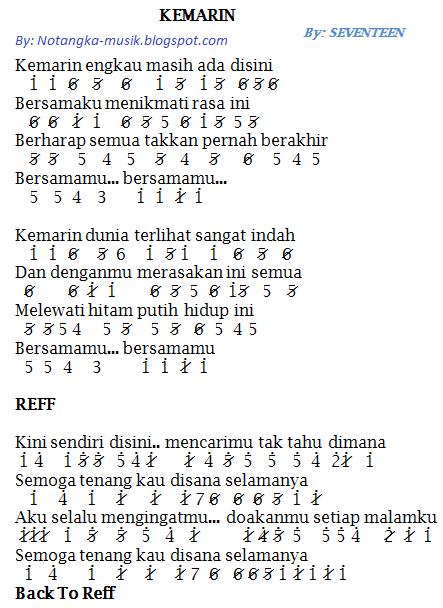 Not Angka Pianika Lagu Kemarin - Seventeen