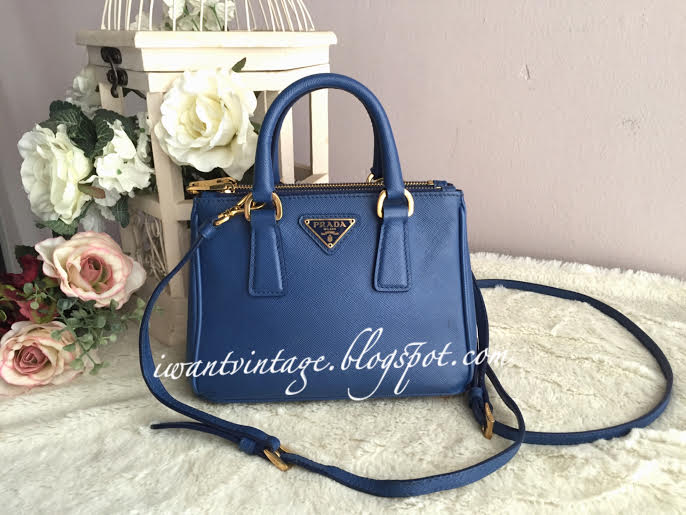 a3fd8a94844b ... real prada saffiano lux mini double zip tote blue 0e9e4 b3028