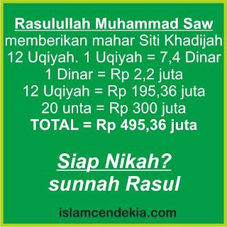 DP BBM Sunah Rasul Mahar Rasulullah Nabi Muhammad Saw kepada Siti Khadijah