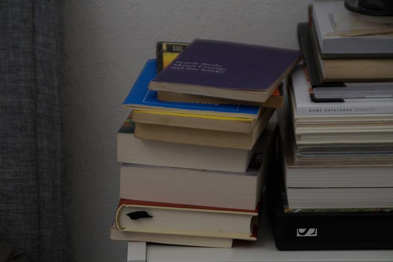 Bücher lesen im Herbst / Bücherstapel Tasteboykott