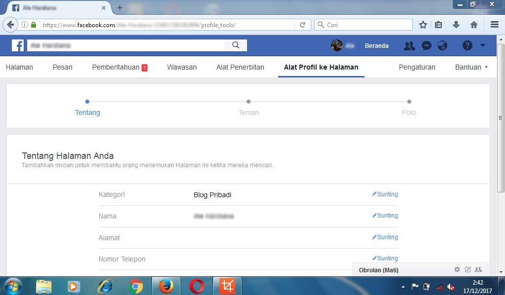 Mengubah Akun Pribadi Menjadi Halaman Facebook Versi Baru Alezstar