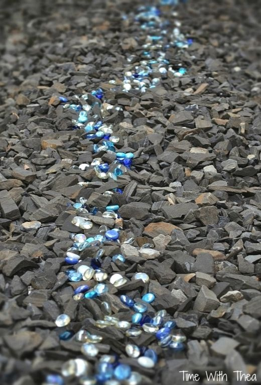 Blue Glass Pebble Idea for Landscaping