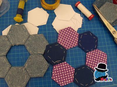 costruzione della cornice in patchwork