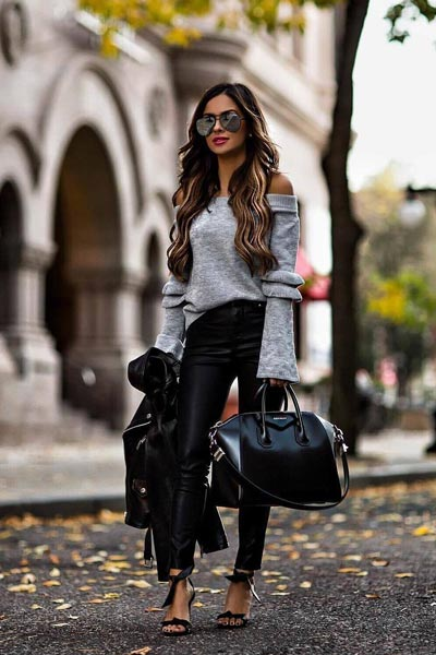 21 Fall Clothing Ideas That are Anything but Boring | Sweatshirt + Black Denim Skinny Pants + Chloe Leather Bag + Leather Satchel