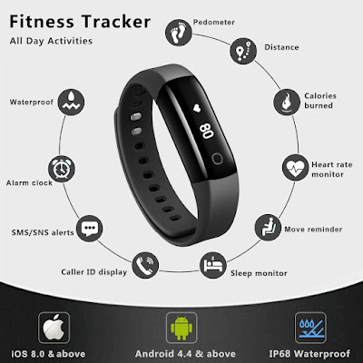 Fitness Tracker, Vigorun4 Best Activity Tracker Heart Rate Monitor, Swimming Waterproof Fitness Tracker watch / Step Counter/GPS Tracker/ Smart Wristband for Android and iOS