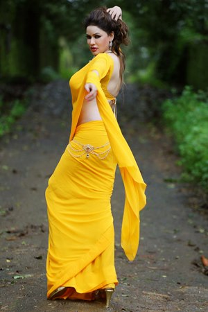 Poonam jhawer yellow saree hot