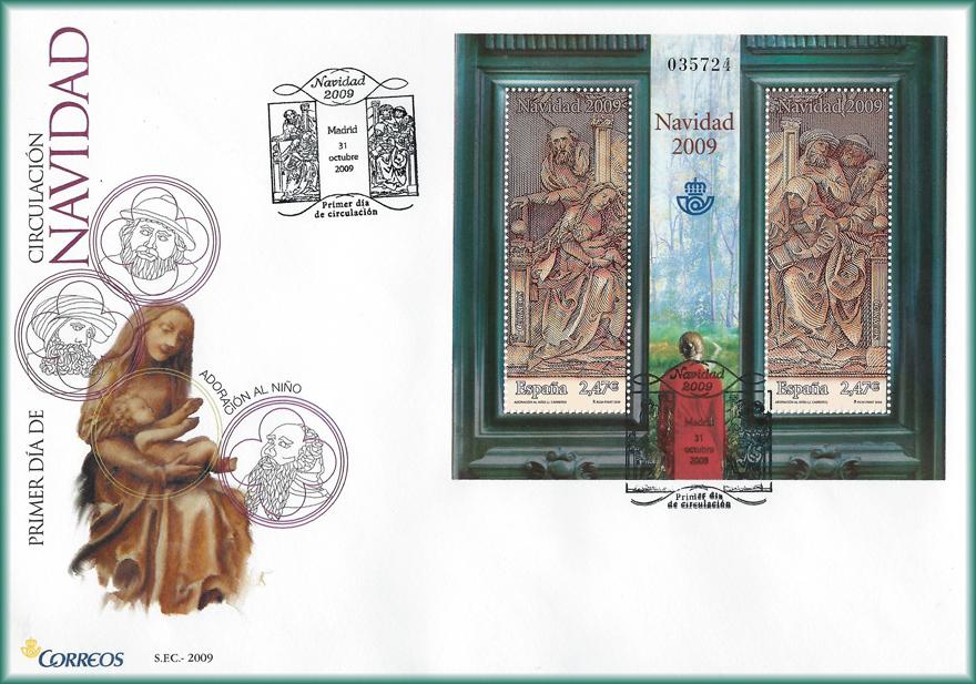 Sobre de Navidad 2009  la hoja bloque Adoración al Niño y paisaje con mujer en rojo de JCarrero