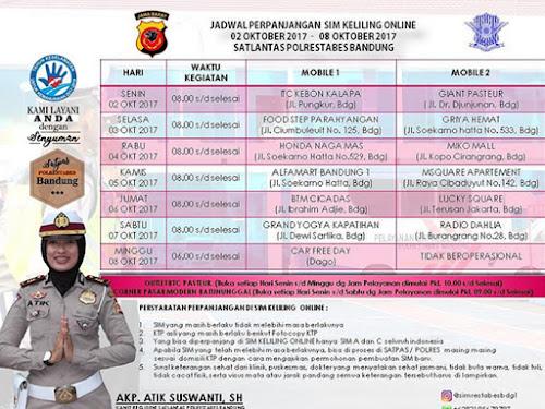 Jadwal SIM Keliling Online Polrestabes Bandung Bulan Oktober 2017