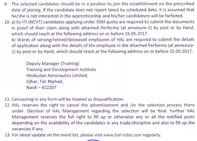 HAL Nashik Recruitment 2017 ITI Trade Apprenticeship Application Form