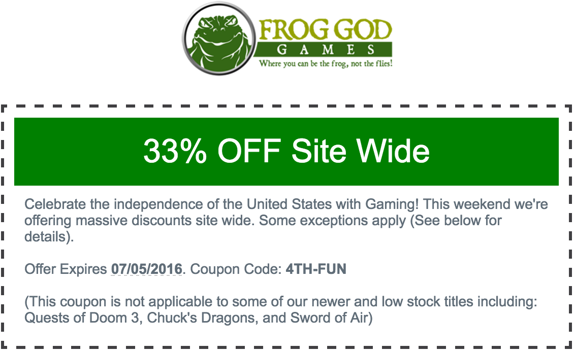 Tenkars tavern 2016 06 26 yep the frogs are having a 4th of july sale with two awesome discounts note some of the more recent titles are excluded from the sale fandeluxe Images