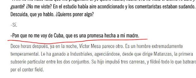 Web screen shot de la promesa de Víctor Mesa a su madre
