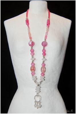 Gargantilla collar de plata, ágatas, cuarzo rosa y colgante de filigrana. Joyería Artesanal Personalizada