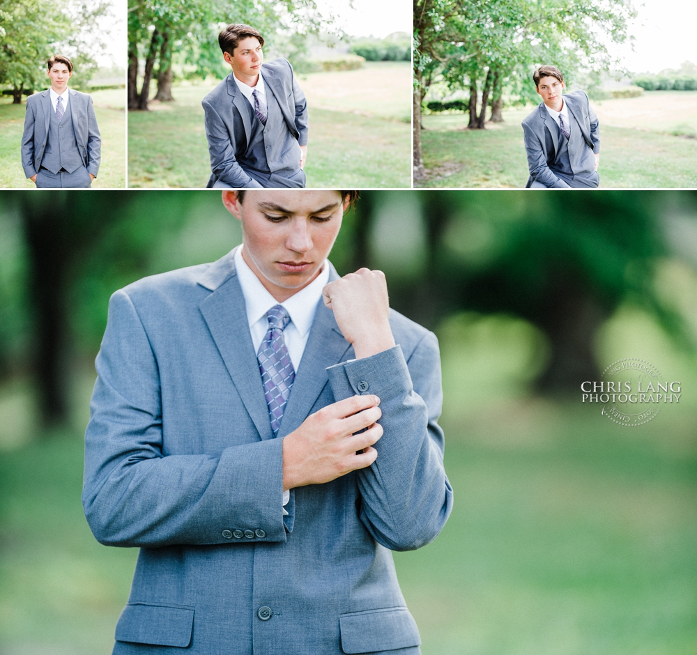image of young man in grey suit and tie - chris lang photography  - wilmington nc portrait photographer