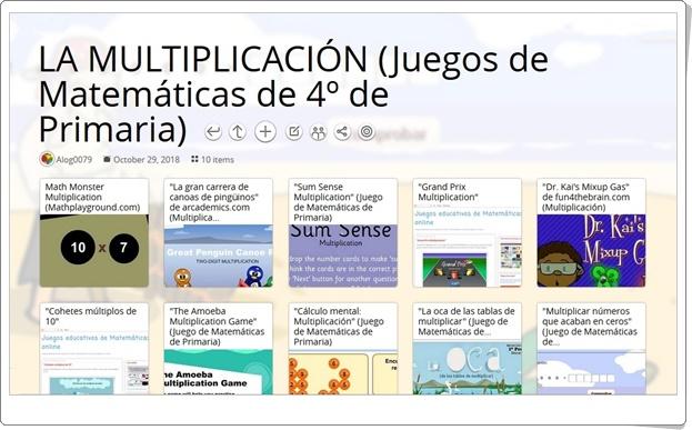 """""""10 juegos para la práctica de LA MULTIPLICACIÓN en 4º de Primaria"""""""