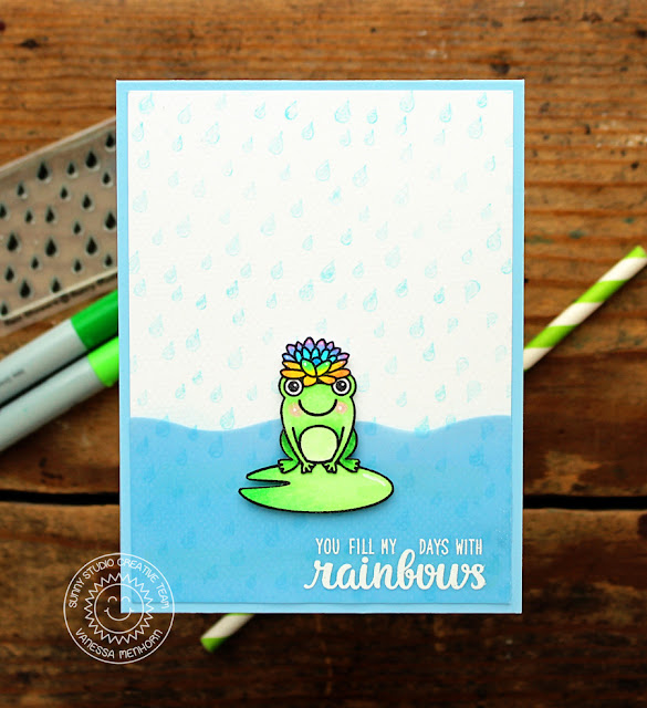Sunny Studio Stamps: Rain Showers Froggy Friendship Card by Vanessa Menhorn