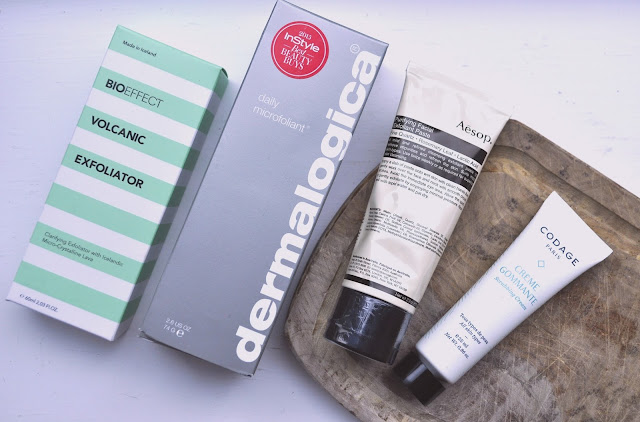 Dermalogica daily Microexfoliant review. Bioeffect volcanic exfoliator review. aesop purifying paste review. codage scrubbing cream review
