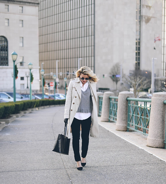 wear to work outfit featuring mansur gavriel tote