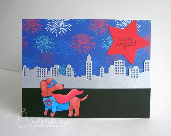 Superhero dachshund card by Crafty Math-Chick | Dress Up Doxies stamp set by Newton's Nook Designs #newtonsnook