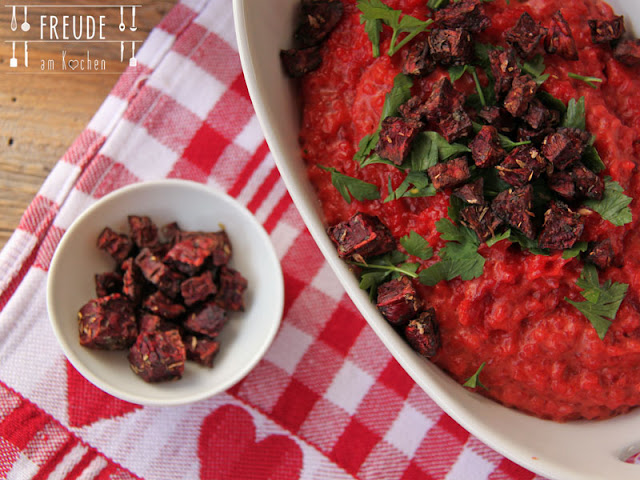 Rotes Rüben - Rotes Bete - Risotto - vegan -Freude am Kochen