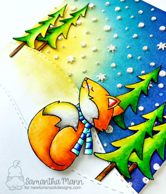 Peace on Earth Card by Samantha Mann for Newton's Nook Designs, Christmas Card, cards, peace on earth, distress inks, ink blending, winter, fox, #newtonsnook #christmas #cards #distressinks #inkblending #winter #fox