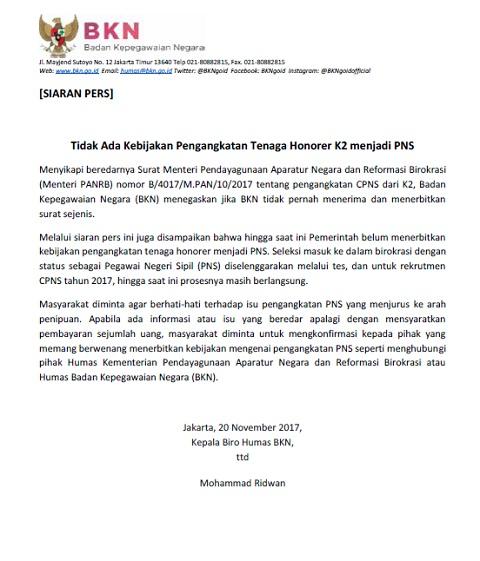 Tidak Ada Kebijakan Pengangkatan Tenaga Honorer K2 Menjadi PNS