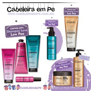 Produtos Liberados Linha Match - O Boticário (Pre shampoo, Tônico e Cowash liberados para No Poo --- Condicionadores, Máscara e Fluido Low Poo