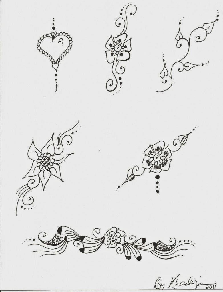 henna flower patterns on paper