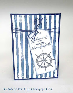 Stampin Up Glückwunschkarte mit maritimem Stil, blau weißen Streifen und Steuerrad