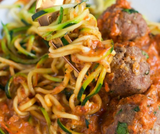 Zoodles With Turkey Meatballs In A Roasted Red Pepper Sauce
