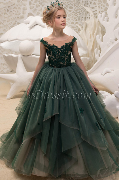 Green Empire Long Wedding Flower Girl Dress