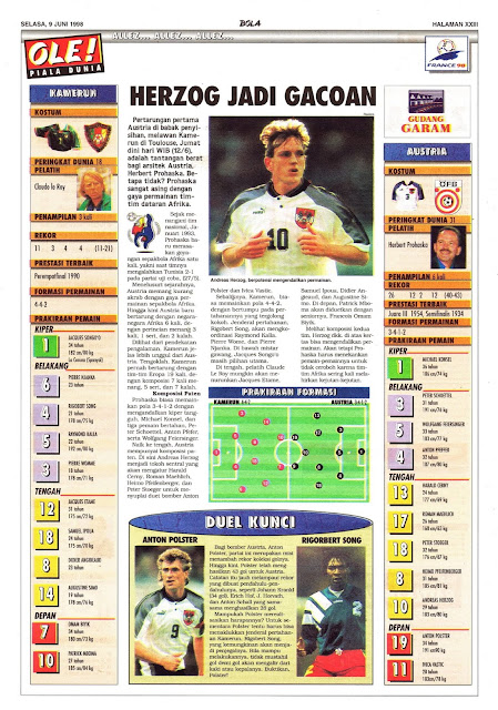 WORLD CUP 1998 CAMEROON VS AUSTRIA HERZOG