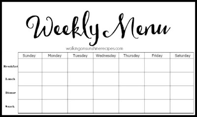 FREE Printable Weekly Menu Plan from Walking on Sunshine Recipes