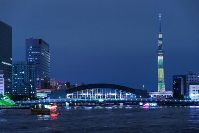 東京スカイツリー・ブラジル国旗をイメージしたライティング