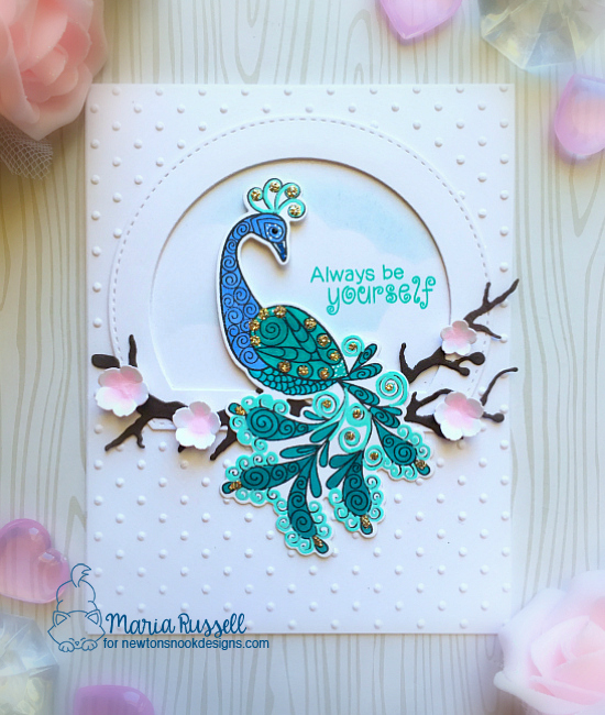 Peacock card by Maria Russell | Beautiful Plumage Stamp set by Newton's Nook Designs #newtonsnook