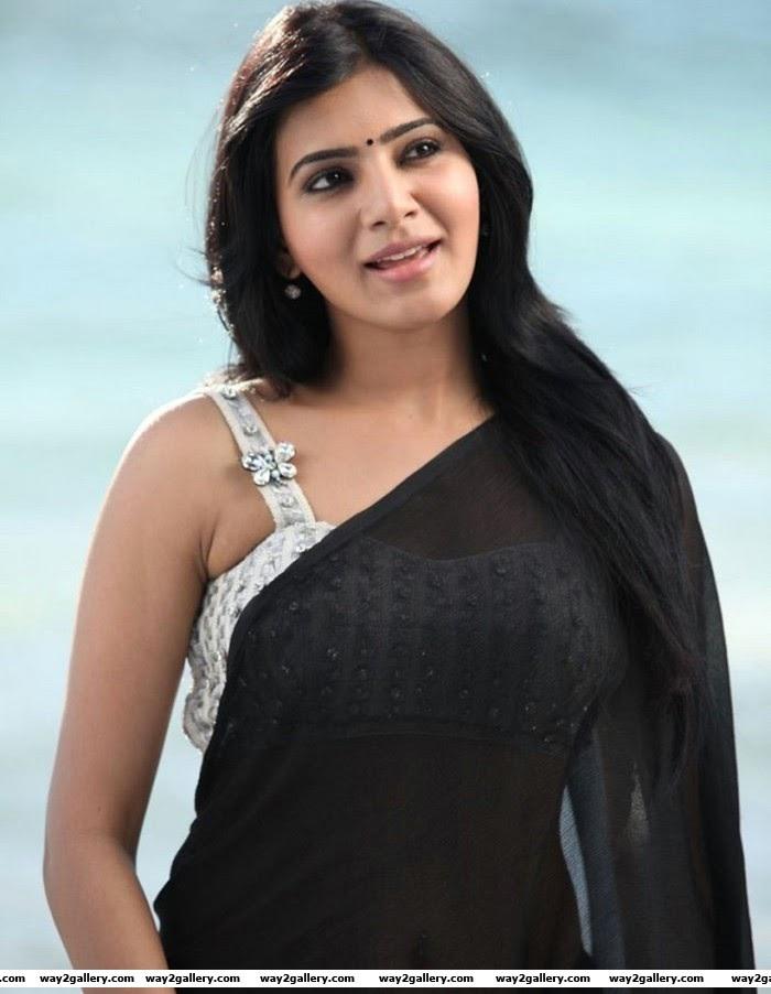 Telugu Actress Samantha hot in Black saree Latest Photos in jabardasth movie