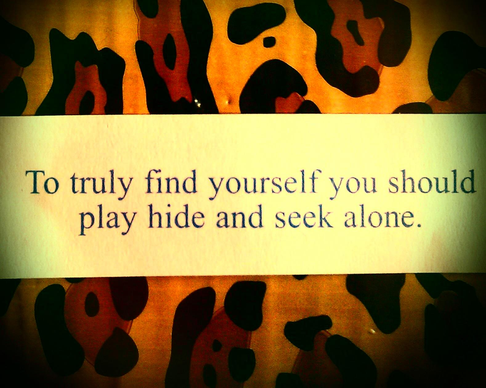 To Truly Find Yourself You Should Play Hide And Seek Alone